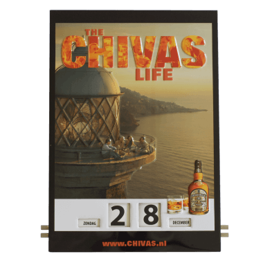 Chivas rotary calendar, embossed, made of tin metal, 300 mm x 430 mm