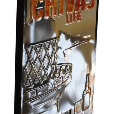 Chivas rotary calendar, detailed view of the embossing