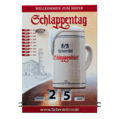 """Rotary Schlappentag calendar made of tin metal, 300 mm x 430 mm, comes with a metal pin in the shape of a slipper (""""Schlappen"""") to allow you to mark appointments and other dates"""