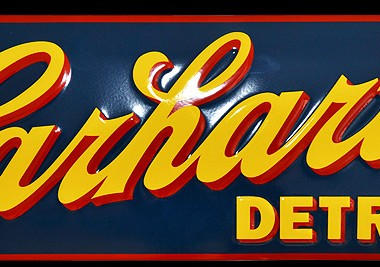 """Enamel sign CARHARTT """"DETROIT"""" 700 x 250 mm, embossed, crowned"""