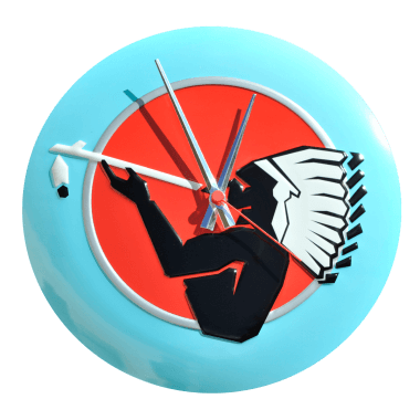 Advertising clock American Spirit, domed and embossed, diameter 30 cm