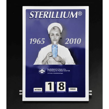 Embossed rotary Sterilium calendar made of tin metal, 300 mm x 430 mm