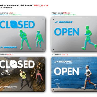 Open/Closed aluminium sign, simulation