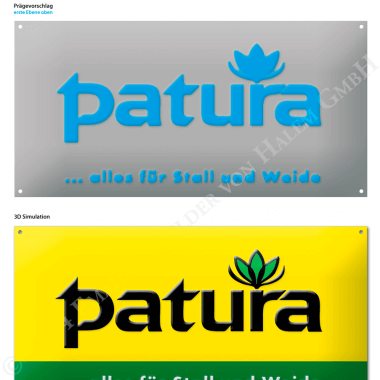 Patura aluminium sign, preview of the embossing