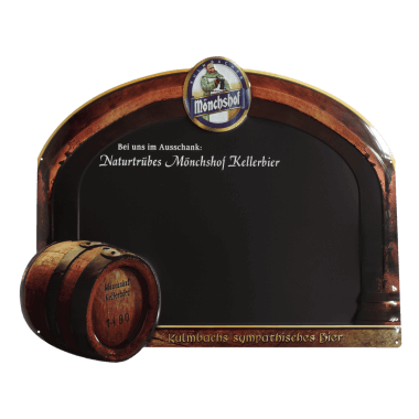 Extremely intricate Kulmbacher Monchshof chalkboard , 800 mm x 650 mm, crowned, embossed and contour cut
