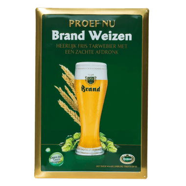 Embossed Brand Weizen tin metal sign; a good example of metallic effects in use