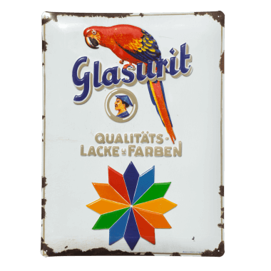 Glasurit tin metal sign, the rusting has been printed on to it