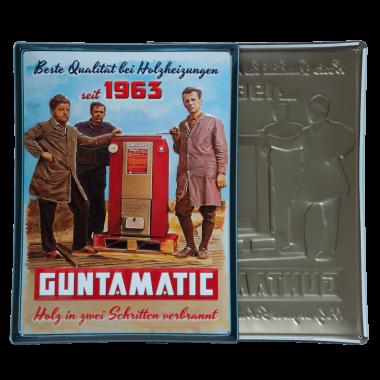 Vintage Guntamatic tin metal sign for the company anniversary