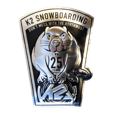 Embossed, contour punched K2 tin metal sign, 23 cm x 30 cm, metallic, with hidden hangers