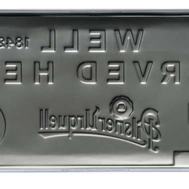 Pilsner Urquell tin metal sign, back