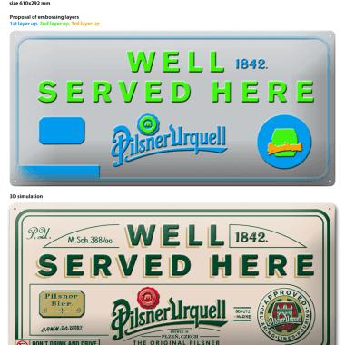 Pilsner Urquell tin metal sign, preview