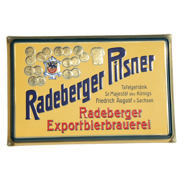 Radeberger tin metal sign,with metallic effect, 60 cm x 40 cm
