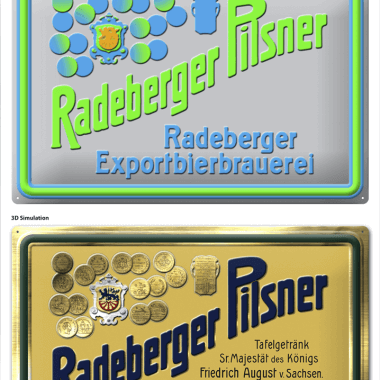 Radeberger embossed metal tin sign, simulation of the embossing