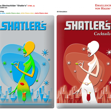 Shatlers tin metal sign, preview