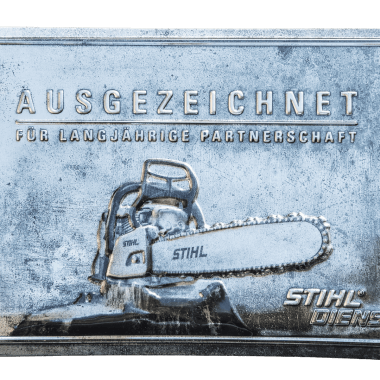 Embossed tin metal sign for Stihl, 60 cm x 40 cm in three metallic versions; this is silver