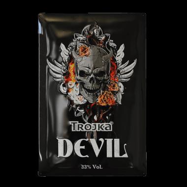 Advertising sign tin metal, Trojka Devil, 40 cm x 60 cm