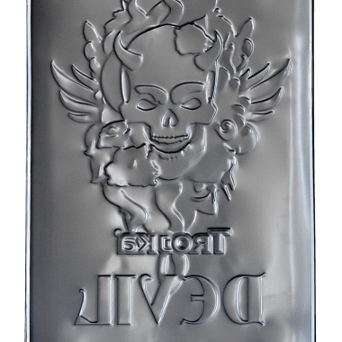 Advertising sign tin metal, embossing from the back side