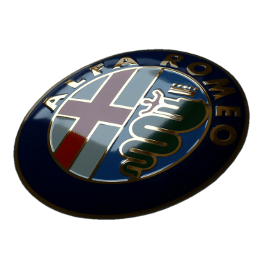 Intricate Alfa Romeo porcelain enamel sign, 50 cm in diameter, embossed, with real gold and hidden hanger