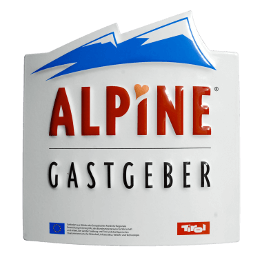 Alpine Gastgeber porcelain enamel sign, contour-cut and embossed, 200 mm x 205 mm, hidden hangers and wall cross