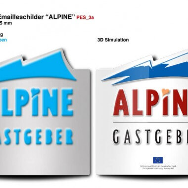 Alpine Gastgeber porcelain enamel sign, preview of the embossing
