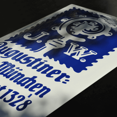 Big Augustiner porcelain enamel sign, 470 mm x 740 mm, stencilled in blue and white
