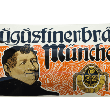 Augustiner porcelain enamel sign Reproduction true to the original old Augustiner Mönch porcelain enamel sign, 100 cm x 50 cm, extremely intricate, heavily crowned sign featuring stencilled writing and ceramic screen printing in seven different colours