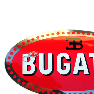 Bugatti porcelain enamel sign 750 mm x 380 mm, hidden hanger, sign with real platinum and keychain 50 mm x 30 mm
