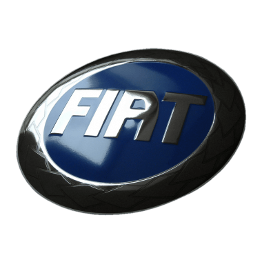 Intricate Fiat porcelain enamel sign, 50 cm in diameter, embossed, with platinum and hidden hanger
