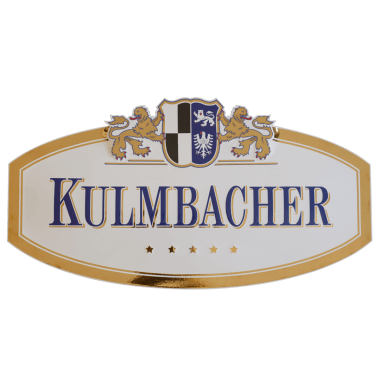 Kulmbacher porcelain enamel sign, embossed and featuring real gold; for use as an outdoor sign in the gastronomy sector; approx. 800 mm x 500 mm
