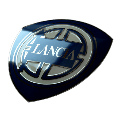 Intricate Lancia porcelain enamel sign, 50 cm in diameter, embossed, with platinum and hidden hanger