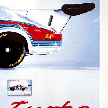 Porsche Turbo porcelain enamel sign in detail