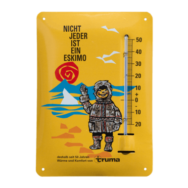 Give away thermometer Truma made of tin metal, format A6 (same as a postcard)