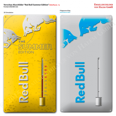 Preview of the embossing to be applied to the Redbull Summer Edition thermometer