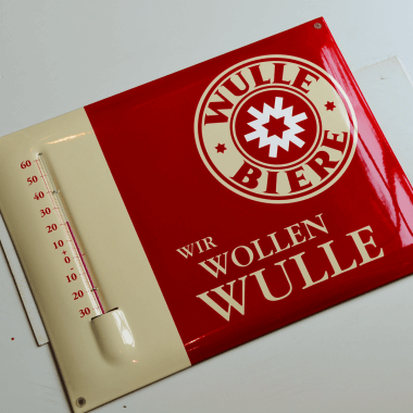 Wulle porcelain enamel thermometer, format 30 x 40 cm