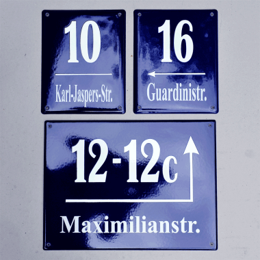 Single items, house numbers, street signs, door signs etc. are available from our subsidiary, Classic Emaille. Please click here to view the website. It is german only, but if you need a single piece or a small amount, send us a mail in english.