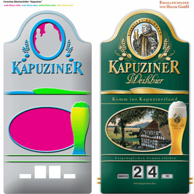 Rotary Kapuziner Weißbier calendar, preview of the embossing