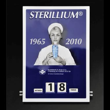 Embossed rotary Sterilium calendar made of tin metal, 300 mm x 430 mm