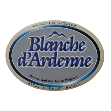 Blanche d`Ardenne aluminium sign, approx. 380 x 270 mm, matt finish, oval, punched, crowned and embossed