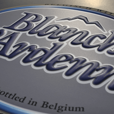 Blanche d`Ardenne aluminium sign, detailed view of the embossing