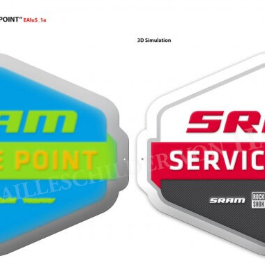 Preview of the embossing levels of an SRAM aluminium sign