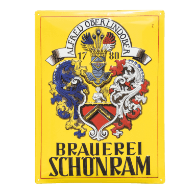 Schönram aluminium sign, four-year warranty on the sign for indoor and outdoor use