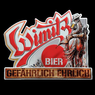 Wimitz Bier weather proof aluminium sign, 50 cm x 40 cm, contour cut and embossed