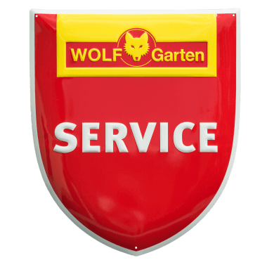 Wolf Garten Service aluminium sign, contour cut aluminium sign for the purpose of outdoor marking of a service partner