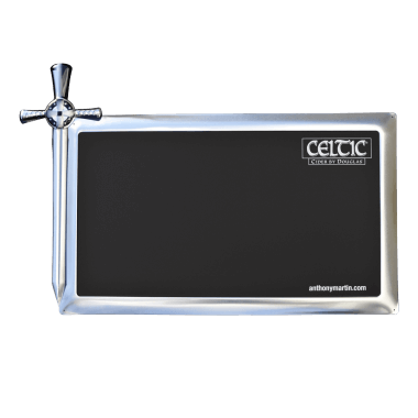 Celtic chalkboard made of tin metal, 40 cm x 40 cm, intricately contour cut, featuring metallic effects