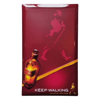 Johnnie Walker chalkboard, tinplate, 40 cm x 60 cm, the writing surface has been printed with chalkboard coating.