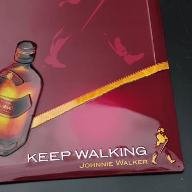 Johnnie Walker chalkboard, detailed view of the embossing