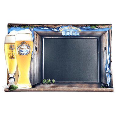 Will Bräu tin metal chalkboard, embossed and contour cut