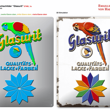 Glasurit tin metal sign, preview of the embossing