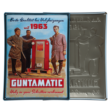 Vintage Guntamatic tin metal sign for the company anniversary