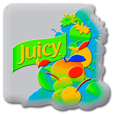 Juicy tin metal sign, representation of the five-level embossing process